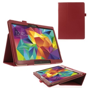 Red Litchi Leather Cover for Samsung Galaxy Tab S 10.5-inch T800 T805 w/ Stand