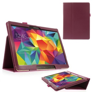 Rose Litchi Leather Shell for Samsung Galaxy Tab S 10.5-inch T800 T805 w/ Stand