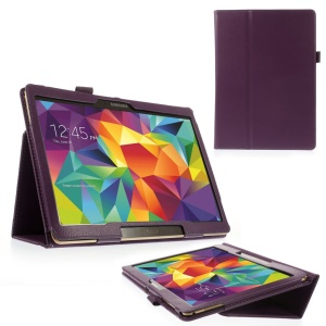 Purple Litchi Leather Case for Samsung Galaxy Tab S 10.5-inch T800 T805 w/ Stand