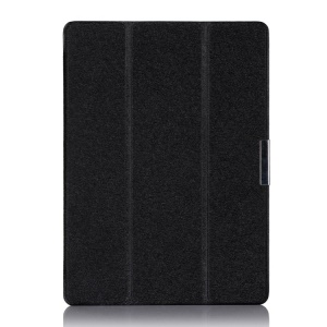 Tri-fold Silk Texture Auto Wake / Sleep Leather Case for Samsung Galaxy Tab S 10.5-inch T800 T805 - Black