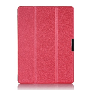 Tri-fold Silk Texture Smart Leather Cover for Samsung Galaxy Tab S 10.5-inch T800 T805 - Red