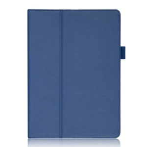 For Samsung Galaxy Tab S 10.5-inch T800 Leather Stand Case Auto Wake Sleep with Elastic Hand Strap / Card Holder - Blue
