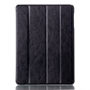 For Samsung Galaxy Tab S 10.5-inch T800 Four-fold Crazy Horse Leather Stand Case w/ Auto Wake Sleep - Black
