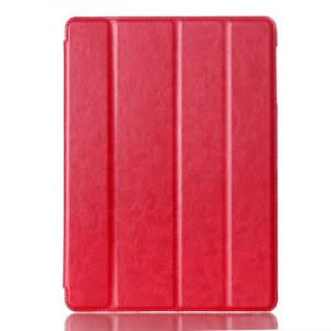 For Samsung Galaxy Tab S 10.5-inch T800 Four-fold Crazy Horse Leather Stand Shell w/ Auto Wake Sleep - Red