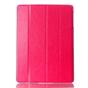 For Samsung Galaxy Tab S 10.5-inch T800 Four-fold Crazy Horse Leather Shell w/ Auto Wake Sleep - Rose