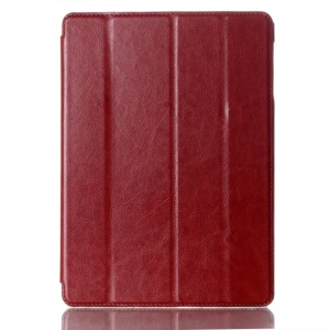 For Samsung Galaxy Tab S 10.5-inch T800 Four-fold Crazy Horse Leather Cover w/ Auto Wake Sleep - Brown