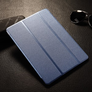 Light Blue for Samsung Galaxy Tab S 10.5-inch T800 Sand-like Smart Tri-fold Leather Case