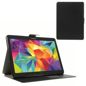 Sand-like Texture Leather Diary Stand Case for Samsung Galaxy Tab S 10.5 T800 - Black