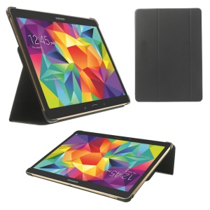 For Samsung Galaxy Tab S 10.5 T800 Slim Tri-fold Stand Folio Leather Shell - Black