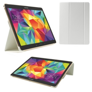 For Samsung Galaxy Tab S 10.5 T800 Slim Tri-fold Stand Folio Leather Shell - White