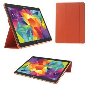 For Samsung Galaxy Tab S 10.5 T805 Slim Tri-fold Stand Folio Leather Case - Orange