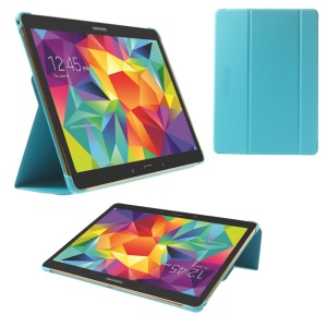 Slim Tri-fold Stand Folio Leather Case for Samsung Galaxy Tab S 10.5 T805 - Blue