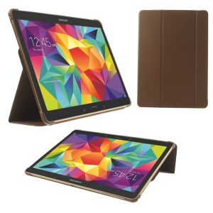 Slim Tri-fold Stand Folio Leather Case for Samsung Galaxy Tab S 10.5 T805 - Brown