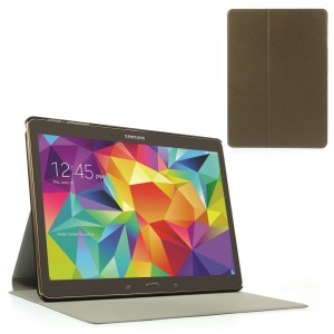 Coffee Sand-like Texture Smart Leather Shell w/ Stand for Samsung Galaxy Tab S 10.5-inch T800