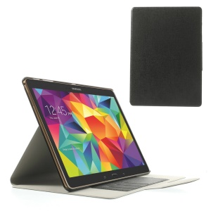 Black Linen Texture Leather Bracket Case for Samsung Galaxy Tab S 10.5 T800 T805 w/ Card Slots