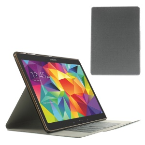 Grey Linen Texture Leather Bracket Case for Samsung Galaxy Tab S 10.5 T800 T805 w/ Card Slots