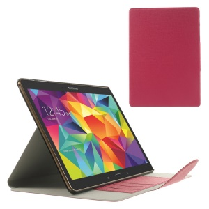 Red for Samsung Galaxy Tab S 10.5 T800 Linen Texture Leather Bracket Cover w/ Card Slots