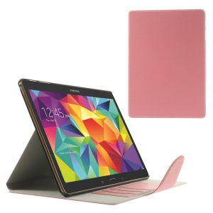 Pink for Samsung Galaxy Tab S 10.5 T800 Linen Texture Leather Bracket Cover w/ Card Slots