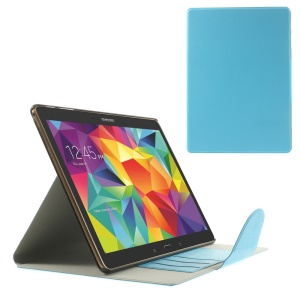 Blue for Samsung Galaxy Tab S 10.5 T800 Linen Texture Leather Bracket Shell w/ Card Slots