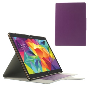 Purple for Samsung Galaxy Tab S 10.5 T805 Linen Texture Leather Bracket Shell w/ Card Slots