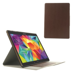 Brown for Samsung Galaxy Tab S 10.5 T805 Linen Texture Leather Bracket Shell w/ Card Slots