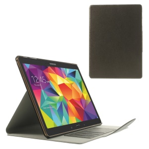 Coffee for Samsung Galaxy Tab S 10.5 T805 Linen Texture Leather Smart Bracket Case w/ Card Slots
