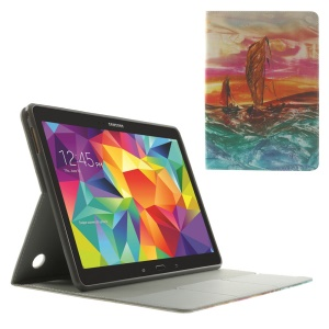 For Samsung Galaxy Tab S 10.5-inch T800 Sails on the Sea Oil Painting Pattern Leather Stand Cover w/ Card Slots