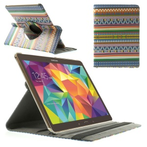 Tribal Stripes & Geometric Pattern 360 Rotary Stand Leather Shell for Samsung Galaxy Tab S 10.5-inch T800 T805