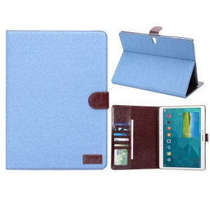 Denim Jeans Cloth Wallet Leather Smart Cover Stand for Samsung Galaxy Tab S 10.5-inch T800 - Light Blue