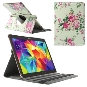 Blossoming Flowers Leather Smart Cover w/ 360 Degree Rotating Stand for Samsung Galaxy Tab S 10.5 T800 T805