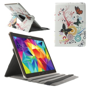Butterfly Circles Smart Leather Cover w/ 360 Degree Rotating Stand for Samsung Galaxy Tab S 10.5 T800 T805