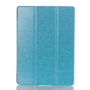 Crazy Horse Leather Smart Case w/ Tri-fold Stand for Samsung Galaxy Tab S 10.5 T800 T805 - Baby Blue