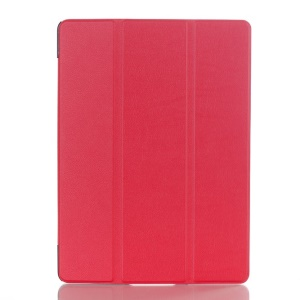 Litchi Skin Leather Smart Cover w/ Tri-fold Stand for Samsung Galaxy Tab S 10.5 T800 T805 - Red