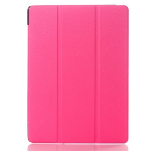 Litchi Skin Smart Leather Cover w/ Tri-fold Stand for Samsung Galaxy Tab S 10.5 T800 T805 - Rose