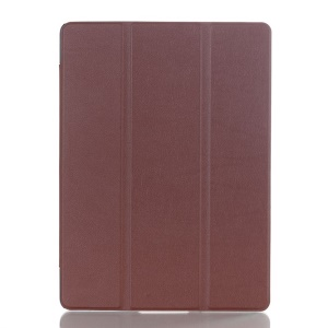 Litchi Skin Tri-fold Smart Leather Stand Cover for Samsung Galaxy Tab S 10.5 T800 T805 - Brown