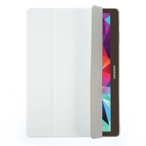 Tri-fold Leather Smart Cover w/ Stand for Samsung Galaxy Tab S 10.5 T800 T805 - White