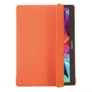 Tri-fold PU Leather Smart Case w/ Stand for Samsung Galaxy Tab S 10.5 T800 T805 - Orange