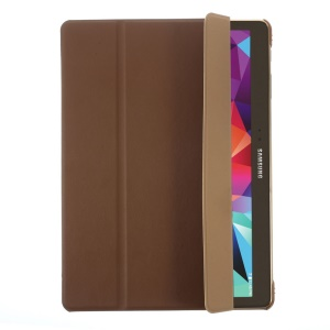 PU Leather Smart Cover w/ Tri-fold Stand for Samsung Galaxy Tab S 10.5 T800 T805 - Brown