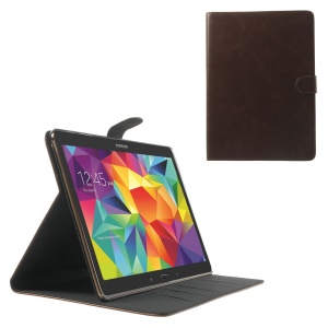Coffee Textured Leather Stand Case w/ Card Slots for Samsung Galaxy Tab S 10.5 T800 T805