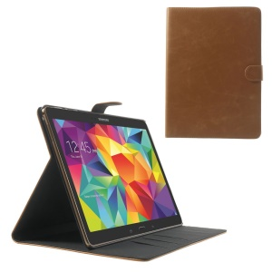 Brown Textured Leather Stand Cover w/ Card Slots for Samsung Galaxy Tab S 10.5 T800 T805