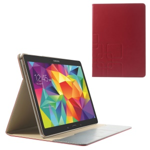 Red Grid Pattern Folio Smart Leather Cover w/ Card Slots for Samsung Galaxy Tab S 10.5 T800 T805