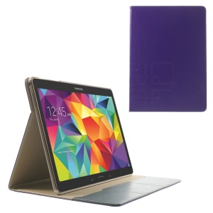 Purple Grid Pattern Flip Smart Leather Case w/ Stand for Samsung Galaxy Tab S 10.5 T800 T805