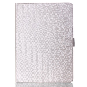 For Samsung Galaxy Tab S 10.5 T800 T805 Football Grain Magnetic Smart Leather Stand Shell - Silver