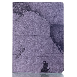 World Map Pattern Stand Smart Leather Flip Case for Samsung Galaxy Tab S 10.5 T800 T805 - Gray