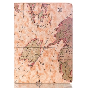World Map Pattern Stand Smart Leather Flip Cover for Samsung Galaxy Tab S 10.5 T800 T805 - Light Brown