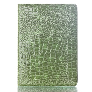 Crocodile Texture Smart PU Leather Cover w/ Stand for Samsung Galaxy Tab S 10.5 T800 T805 - Green