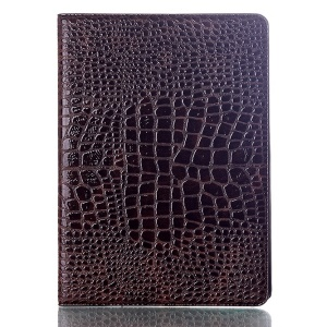 Crocodile Texture Smart Leather Shell Cover w/ Stand for Samsung Galaxy Tab S 10.5 T800 T805 - Coffee