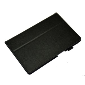 Black Lychee Skin Leather Stand Case for Sony Xperia Z2 Tablet 10.1 inch