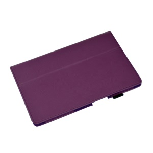 Purple Lychee Skin Stand Leather Case Accessory for Sony Xperia Z2 Tablet 10.1 inch