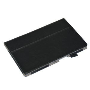 Black Stand Leather Card Holder Case for Sony Xperia Z2 Tablet 10.1 inch w/ Elastic Band